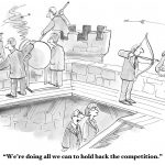 Business cartoon showing businessmen fighting warriors, 'We're doing all we can to hold back the competition'.